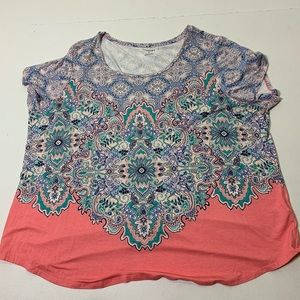Women's Size 3X Colorful printed stretch top